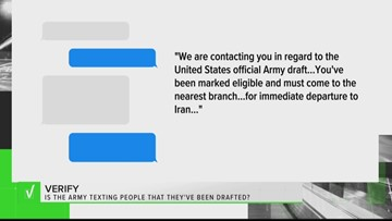 VERIFY: No, the military isn't texting you that you're being drafted for World War III
