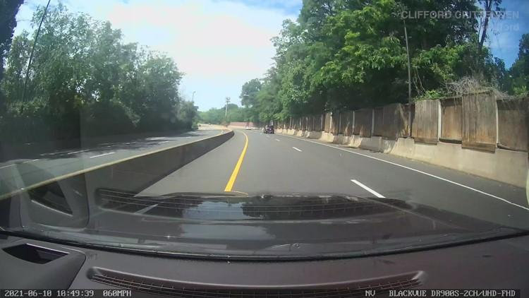 Dashcam captures woman driving wrong way on I-66