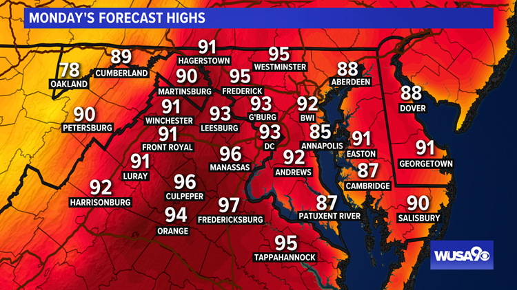 First full day of summer: Heat index near 100 degrees Monday with storms. Here's the latest forecast
