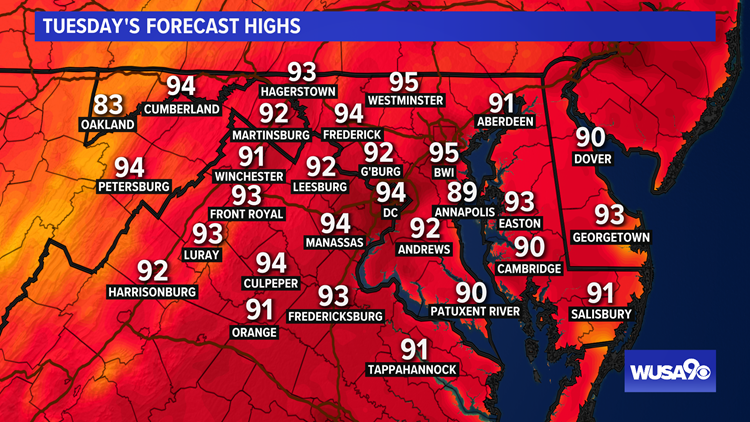 Not as humid Tuesday but plenty hot again across the DMV. Here's the forecast