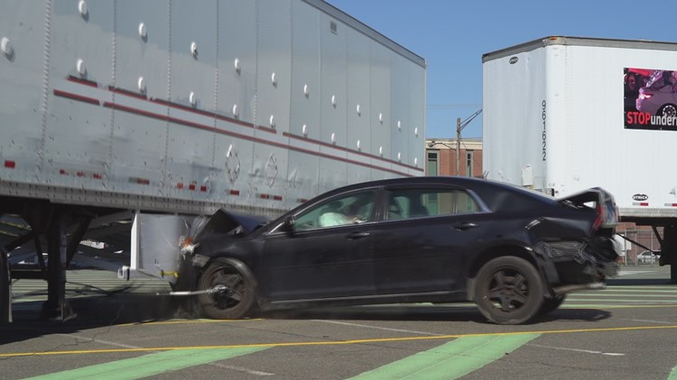 Crash tests show dangers of semi-trailer