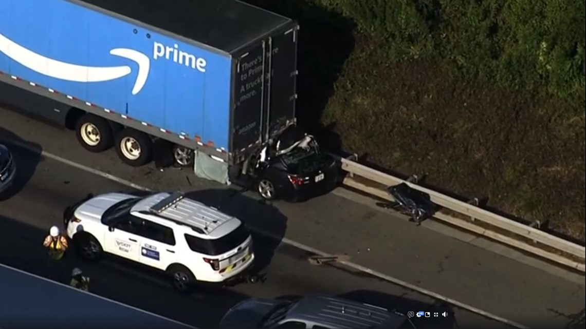 Driver dies after car goes under Amazon Prime tractor trailer in
