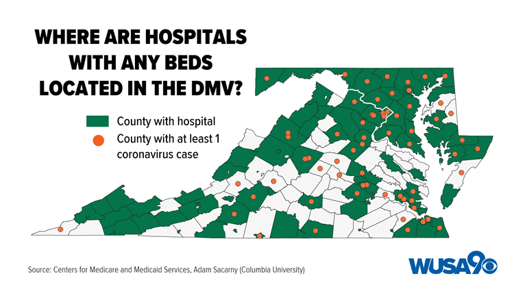 DMV Counties No Hospital Beds