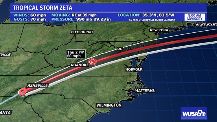 Tropical Storm Zeta brings heavy rain to the DMV Thursday
