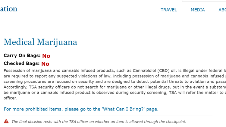 Screengrab from TSA website on May 11, 2019