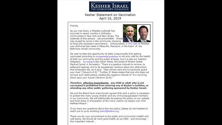 Kesher Israel letter