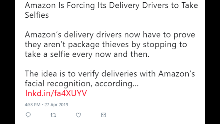 VERIFY: Does Amazon now require delivery drivers to take 'selfies