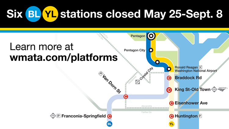 Six blue and yellow Metro stations closed May 25 to Sept. 8