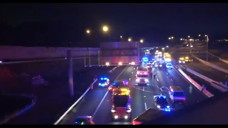 The Outer Loop of the Beltway is closed at I-66 in Virginia after fiery tractor trailer crash