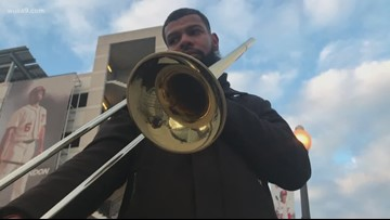 A street musician's trombone was stolen, but a local iconic music store stepped in to help