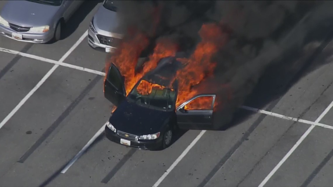 Car catches fire after driver uses hand sanitizer while smoking in Maryland