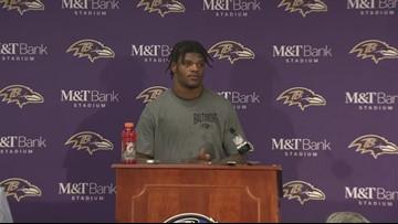 Ravens quarterback Lamar Jackson speaks to the media after losing to Titans