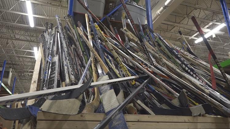 Donated hockey sticks