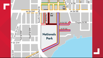 These are the roads that will be shut down around Nationals Park