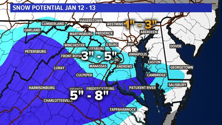 Third Call, Snow Map Jan 12 - 13