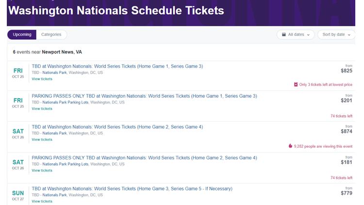 Stubhub Washington National Schedule Tickets