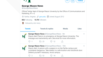 George Mason University 'inadvertently' sends shelter in place alert