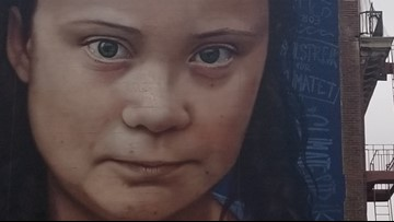 VERIFY: No, a giant mural of Greta Thunberg did not require 700 cans, or 700 gallons, of aerosol spray paint to create