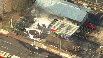 Raw Video: Fire crews battle Sunoco gas station fire in Rockville, Maryland