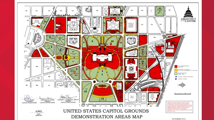 U.S. Capitol Grounds Demonstration Areas Map