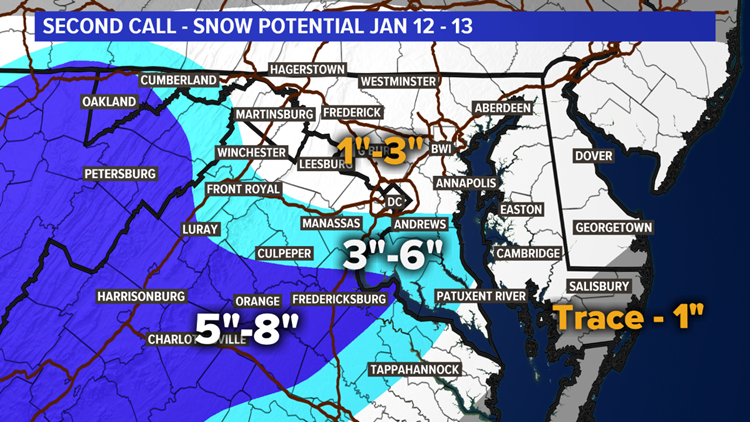 Second Call Snow Forecast for 1-12-19 to 1-13-19