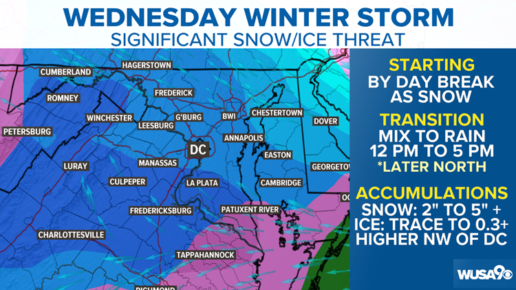 Winter Storm looking more likley Wednesday, snow and ice could cause quite a few issues