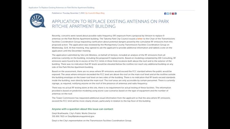 Takoma Park Apartment Issue