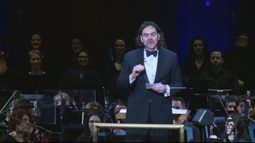 Maestro Andy Brick encourages audience to make noise during a symphony performance