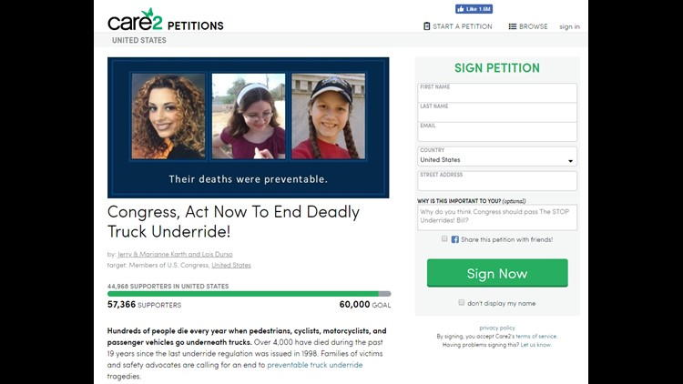 Moms start online petition to 'end deadly underride' deaths