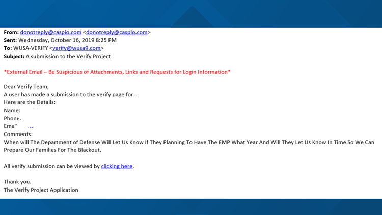 email to the verify team