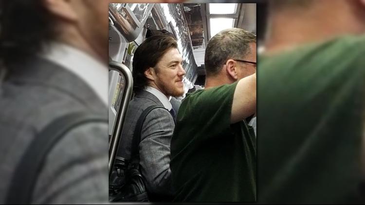 TJ Oshie rides the metro