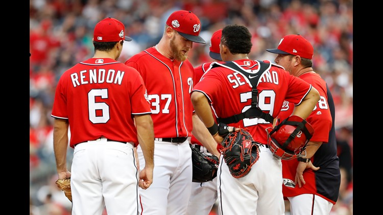 Stephen Strasburg left Friday's game after just 35 pitches with inflammation in his pitching shoulder.