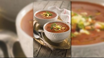 Keep cool with this Heirloom Tomato Soup with Succotash recipe