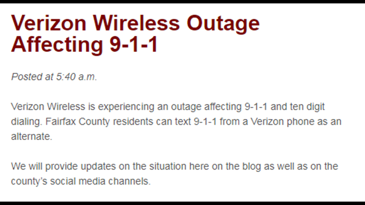 Verizon Wireless is no longer experiencing an outage affecting 911 calls. The issue has been resolved.