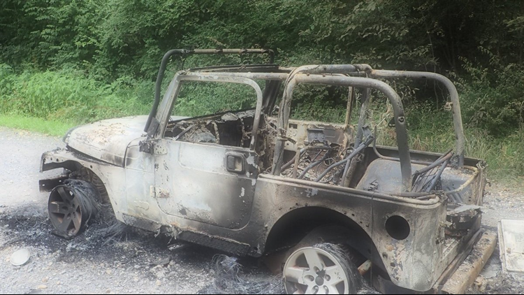 A Jeep full of fireworks went up in flames after other fireworks were shot at it.