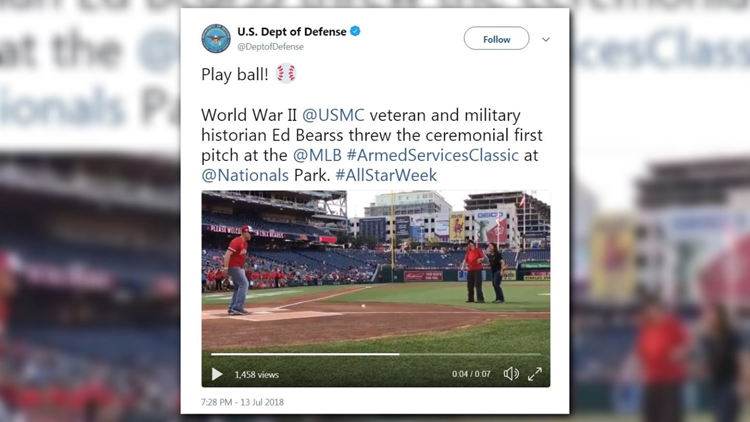Ed Bearss stood on the pitcher's mound and threw the first pitch at the All-Star Game in D.C.
