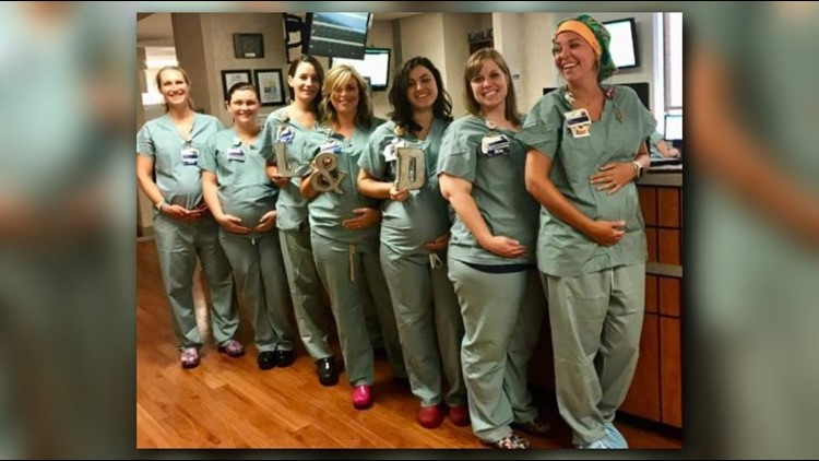 Looks like there's something in the water all across NC hospitals... Seven nurses in the Labor and Delivery unit at Cone Health Women's Hospital are all expecting at the same time!