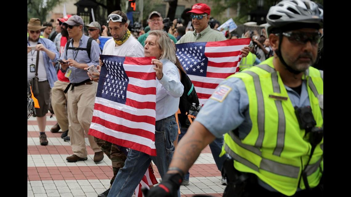 Anti-racist protestors march through Charlottesville