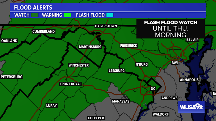 Flash Flood Watch for most of the DMV. Here's the forecast