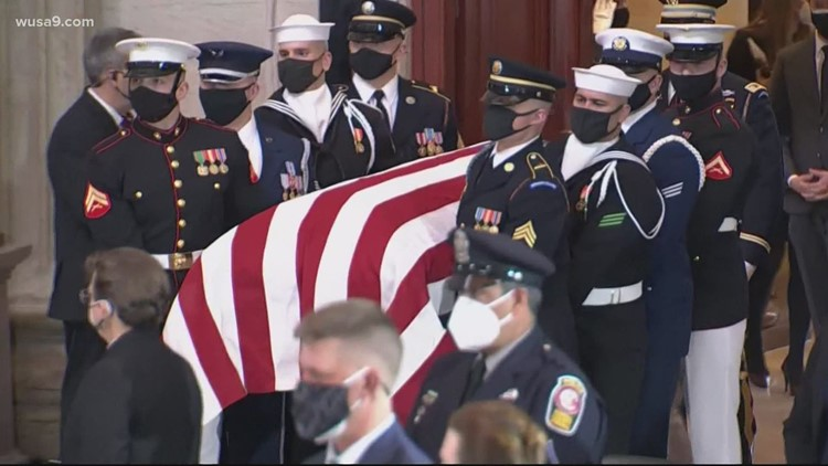 Capitol Police officer lies in honor; national politicians speak at memorial service