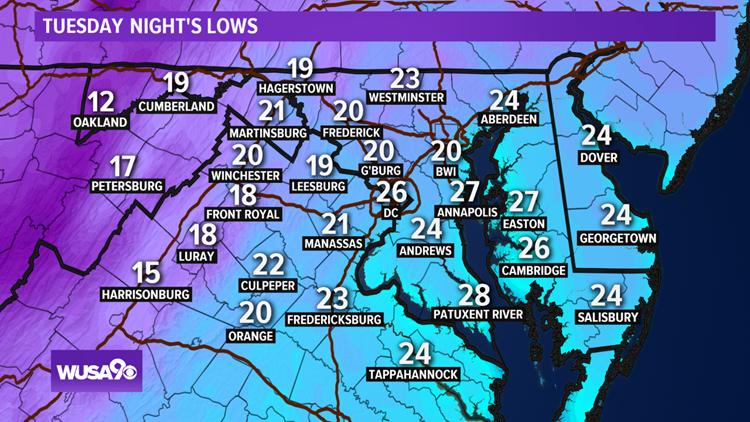 Temperatures tumble into the 10s, 20s in DC, MD, VA