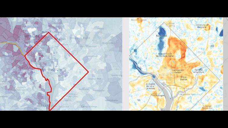 Heat map income map comparison