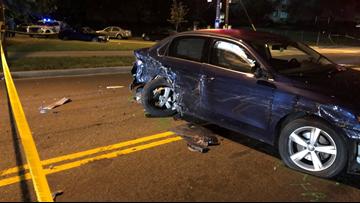 Crash involving several cars shuts down road in Southwest DC