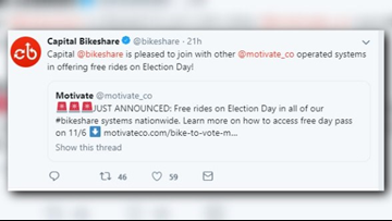 Capital Bikeshare rides will be free on Election Day