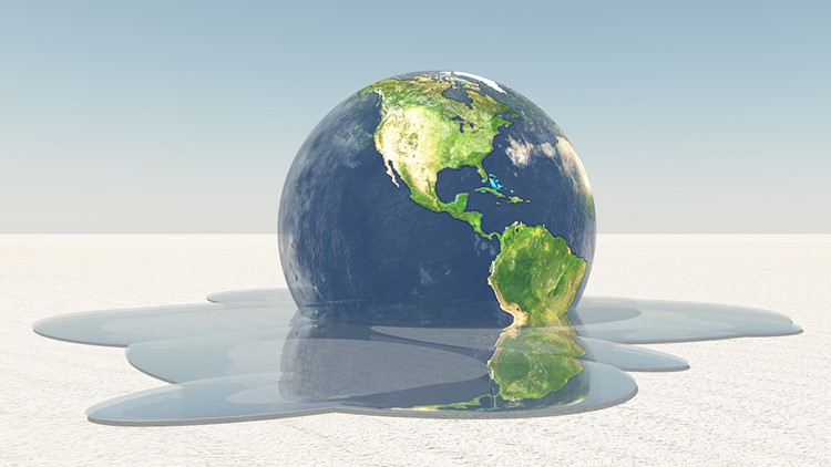 Earth melting global warming climate change-432346027