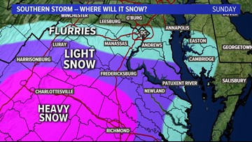 Winter storm brings light snow south of DC, heaviest south of our area