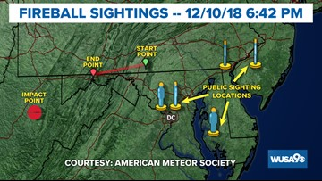 2 Fireballs seen from the DC area Monday