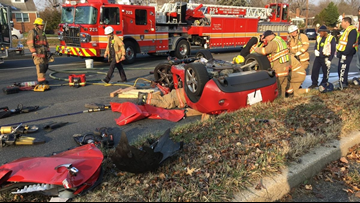 At least 1 person injured after car overturns in Silver Spring