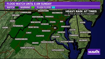 Flood Watch: Rain overnight, more showers Sunday