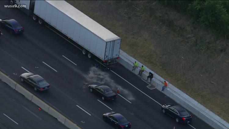 Tractor-trailer crash on EB I-66 caused major backup